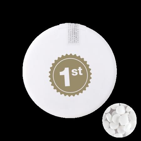Ronde mintdispenser met ca. 8 gr. mintjes en ingredienten label. TAMPONDRUK