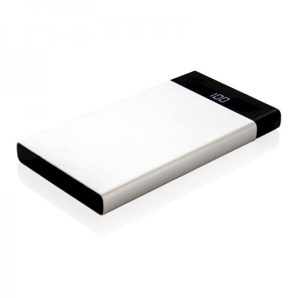 6.000 mAh platte powerbank met digitaal scherm, zilver