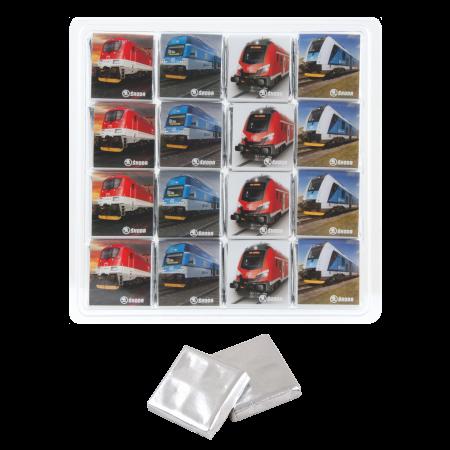 Transparante box 16 x 5 gr. Barry Callebaut chocolade
