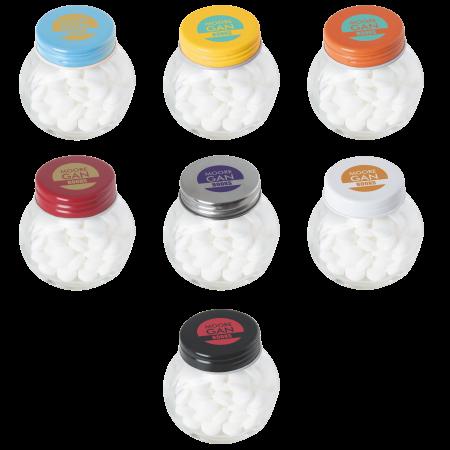 Kleine glazen pot gevuld met ca. 40 gr. mints gekleurd deksel