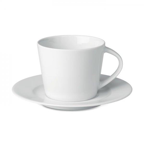 Cappuccino kop en schotel