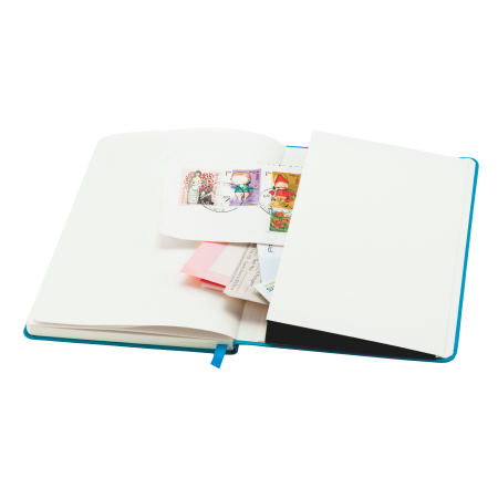 Notitieboek A5 met elastiek, leeslint en opbergvak, 80 pagina`s