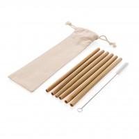 Herbruikbaar ECO bamboe rietje set 6 stuks