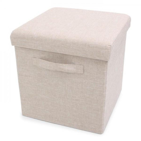 Foldable Storage Pouffe with handles Yarn Beige