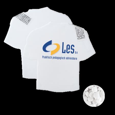 T-shirt mintdispenser wit met ca. 8 gr. mintjes en ingredienten label TAMPONDRUK