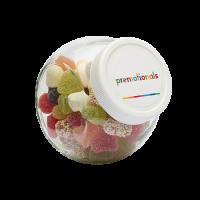 Glazen snoeppot 395 ml wit kunststof deksel gevuld met snoep categorie BASIS