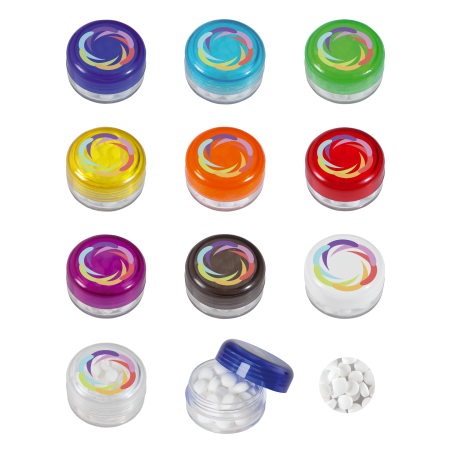 Kunststof rond potje gekleurd deksel met ca. 12 gr. mints DIGITAAL tot full colour