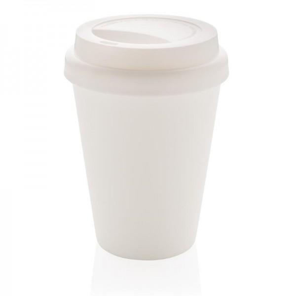 Herbruikbare dubbelwandige koffiebeker 300ml, wit