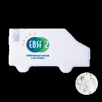 Vrachtwagen mintdispenser met ca. 8 gr. mintjes en ingredienten label. DIGITAAL tot full colour