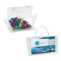 Mini visitekaart tasje transparant gevuld met choco carletties ONBEDRUKT