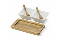 Set van 2 schaaltjes op houten onderbord