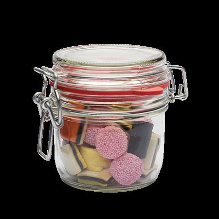 Glazen weckpotje 125 ml gevuld met snoep categorie SPECIAAL