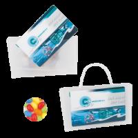 Mini visitekaart tasje transparant gevuld met jelly beans ONBEDRUKT