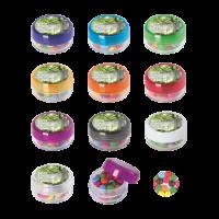 Kunststof rond potje gekleurd deksel met ca. 12 gr. choco carletties DIGITAAL tot in full colour