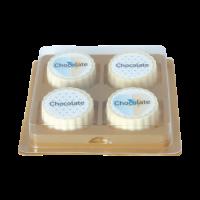 Logobonbon van witte chocolade met hazelnoot praline, rechthoekig of rond, opdruk tot in full colour