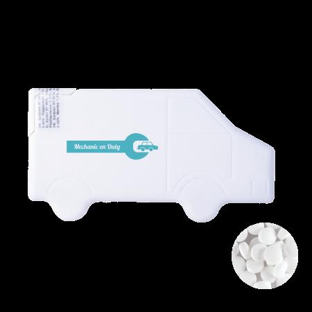 Vrachtwagen mintdispenser met ca. 8 gr. mintjes en ingredienten label. TAMPONDRUK