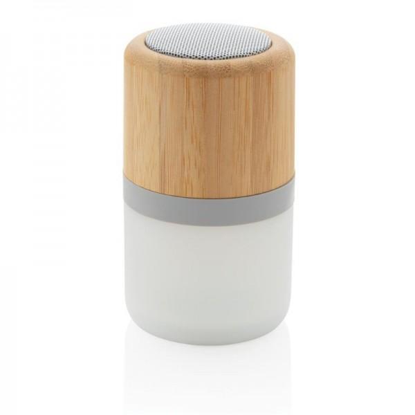 Draadloze bamboe 3W speaker met sfeerlicht, wit