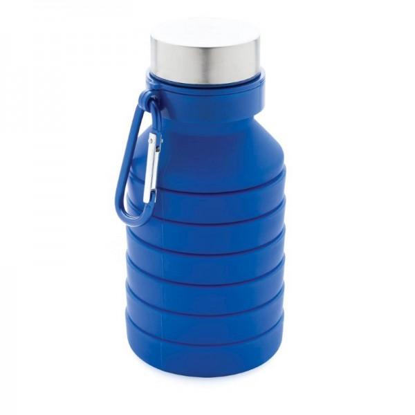 Lekvrije opvouwbare siliconen fles met schroefdop, blauw