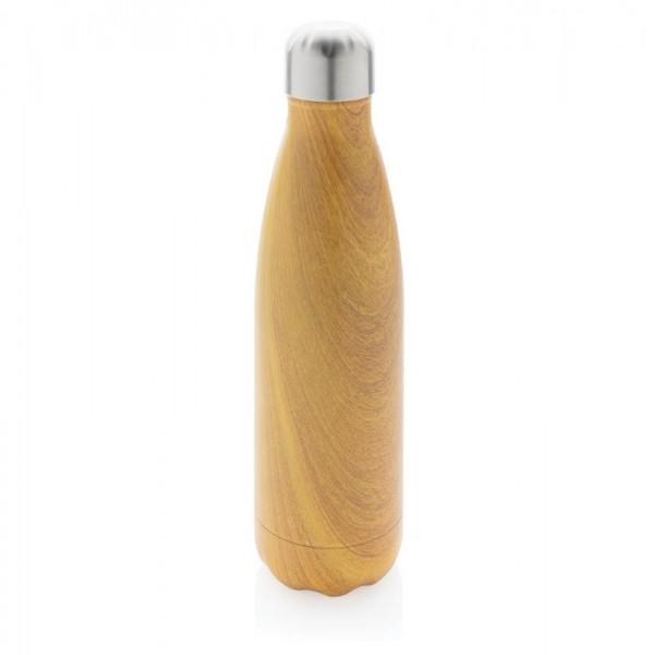 Vacuum roestvrijstalen fles met houtdessin, bruin