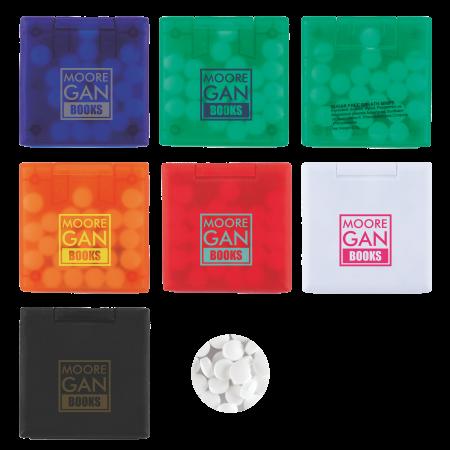 Vierkante mintdispenser klein met ca. 3 gr. mintjes met ingrediënten label