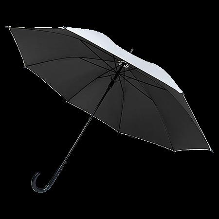 Automatische paraplu kunststof handvat buitenkant zilver en onder gekleurd P-190T