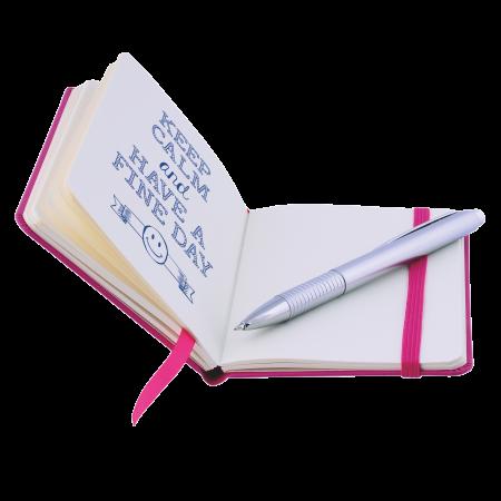 Notitieboekje A6 met elastiek en leeslint, 80 pagina`s