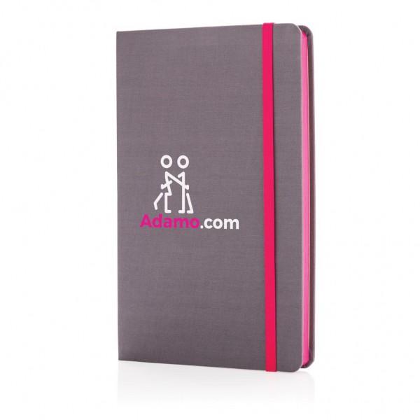 A5 Deluxe stoffen notitieboek met gekleurde zijde