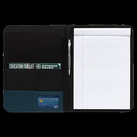 Schrijf-/documentatiemap A4 met pennenlus schrijfblok en pen van 600D nylon en imitatieleer