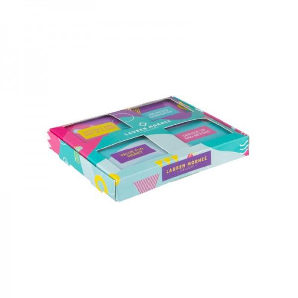 Set met eigen ontwerp blikjes en doosje