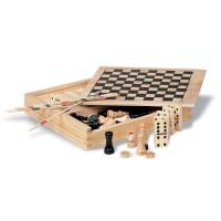 4 Spelletjes in houten doos 40