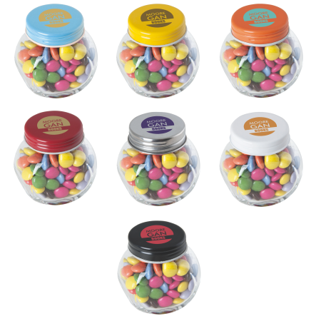 Kleine glazen pot gevuld met ca. 40 gr. choco carletties gekleurd deksel