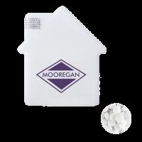 Huis mintdispenser met ca. 8 gr. mintjes en ingredienten label TAMPONDRUK
