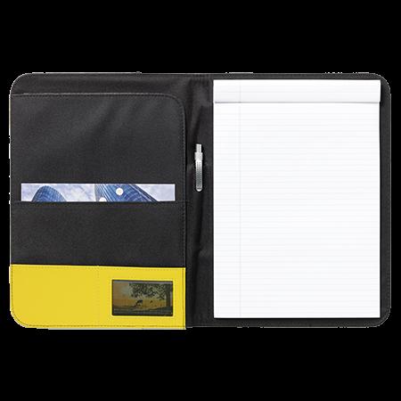 Schrijf-/documentatiemap A4 met pennenhouder schrijfblok en pen van 600D nylon en imitatieleer