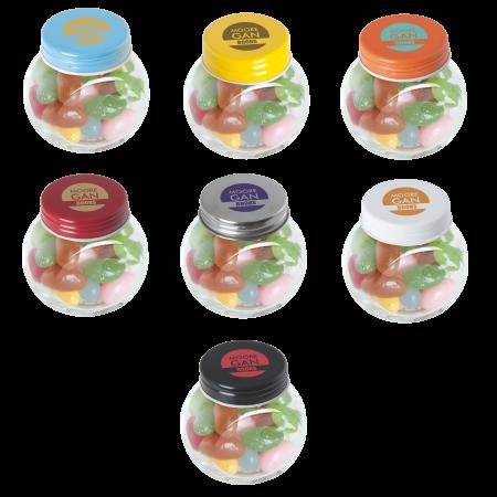 Kleine glazen pot gevuld met ca. 40 gr. jelly beans gekleurd deksel