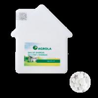 Huis mintdispenser met ca. 8 gr. mintjes en ingredienten label DIGITAALPRINT tot full Colour