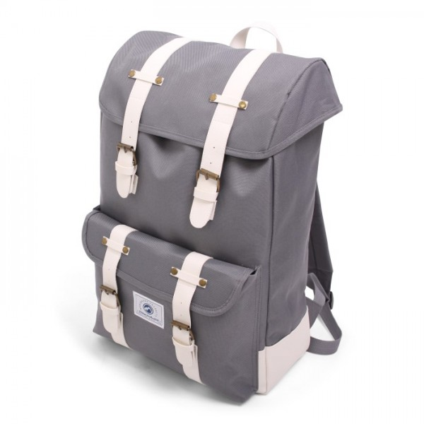 Vintage Backpack Deluxe Grey & White
