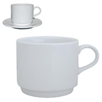 Q Basic Stapelbare Koffie Kop hoog wit 22 cl.