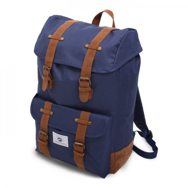 Vintage Backpack Deluxe Blue & Brown