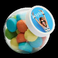 Glazen snoeppot 870 ml wit kunststof deksel gevuld met snoep categorie BASIS