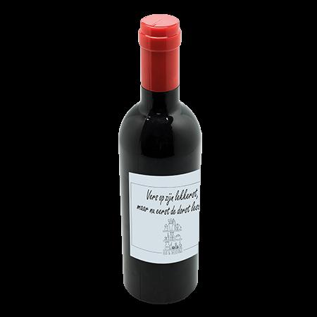 Wijnset in wijnflesvorm voorzien van kelnersmes, druppelvanger, flessenstop en schenktuit
