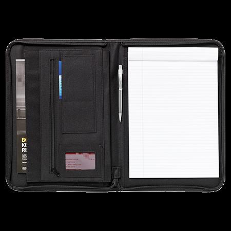 Schrijf-/documentatiemap A4 met schrijfblok en pen voorzien van rits van 600D nylon en imitatieleer