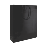Glans gelamineerde papieren tas 200x260x80 mm zwart