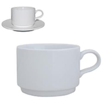 Q Basic Stapelbare Koffie Kop laag wit 18 cl.