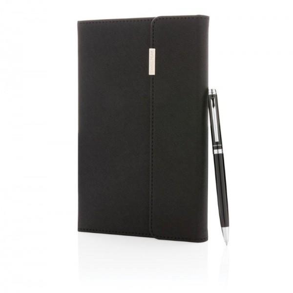Swiss Peak deluxe A5 notitieboek en pen set, zwart