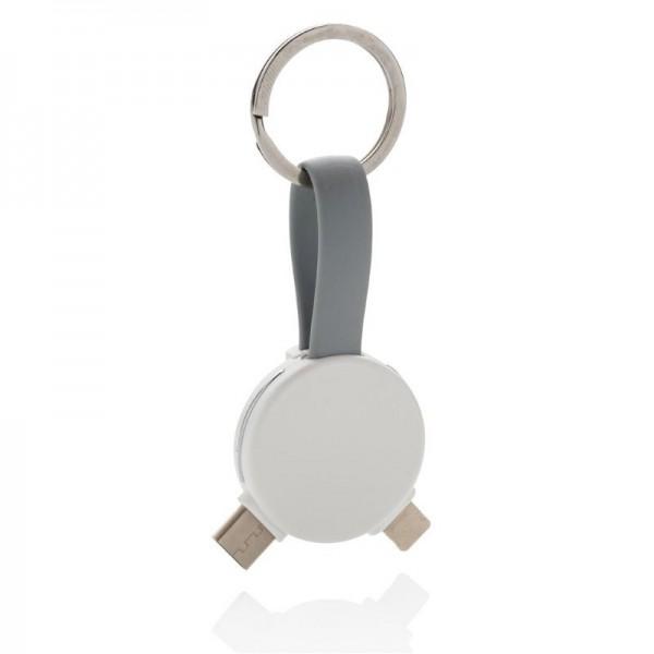 3-in-1 ronde sleutelhanger kabel, wit