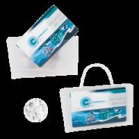 Mini visitekaart tasje transparant gevuld met mints ONBEDRUKT