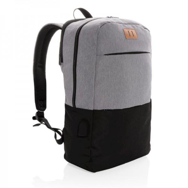 "Modern 15.6"" USB & RFID laptop rugzak PVC vrij, zwart"