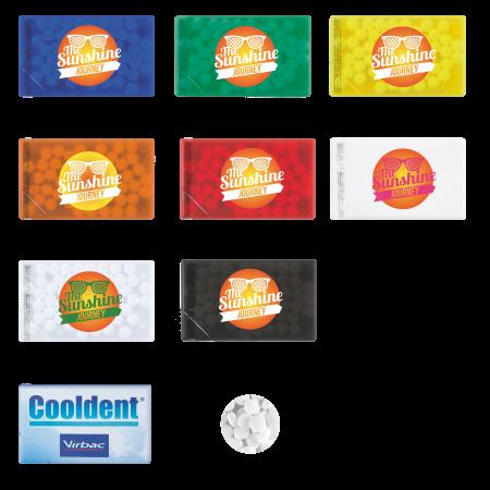 Creditcard mintdispenser met ca. 8 gr. mintjes en ingredienten label DIGITAALPRINT tot full colour