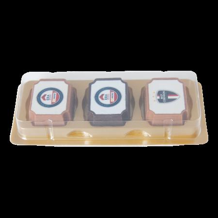 Logobonbon van puur/melk chocolade met hazelnoot praline, rechthoekig of rond, met wit plaatje opdru