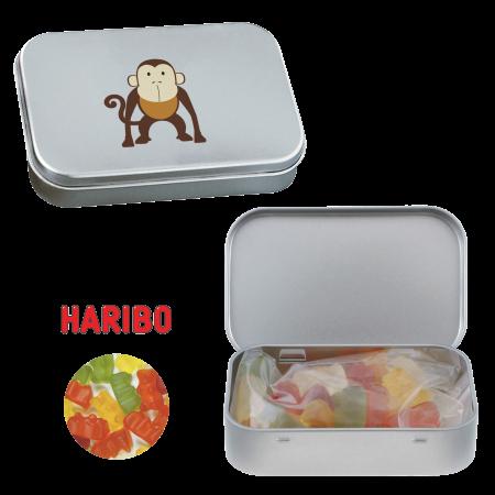 Scharnierblik met ca. 60 gr. Haribo gummibeertjes